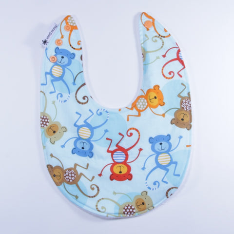 Mucky Duck blue orange red monkeys dribble bib