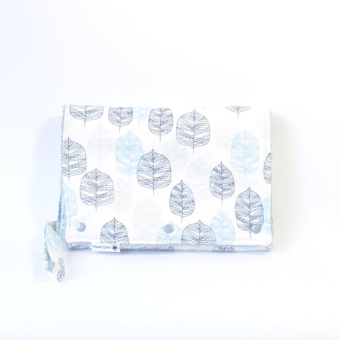 Mucky Duck Crafts Nappy wallet and change mat set blue grey leaf leaves baby travel