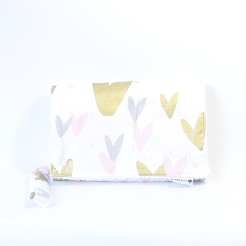 Mucky Duck Crafts Nappy wallet and change mat set pink grey gold heart hearts baby girl baby travel
