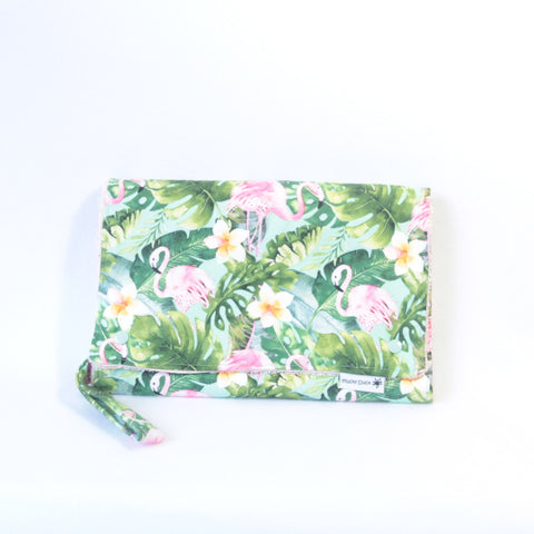 Mucky Duck Crafts Nappy wallet and change mat set pink flamingo flamingos frangipani flowers baby girl baby travel