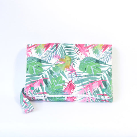 Mucky Duck Crafts Nappy wallet and change mat set jungle pink magenta foliage baby travel