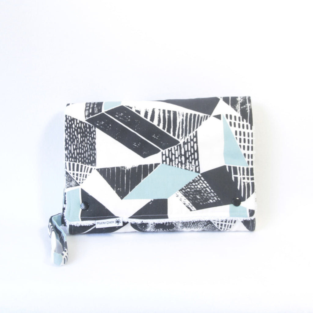 Mucky Duck Crafts Nappy wallet and change mat set black white blue geometric pattern baby boy baby travel