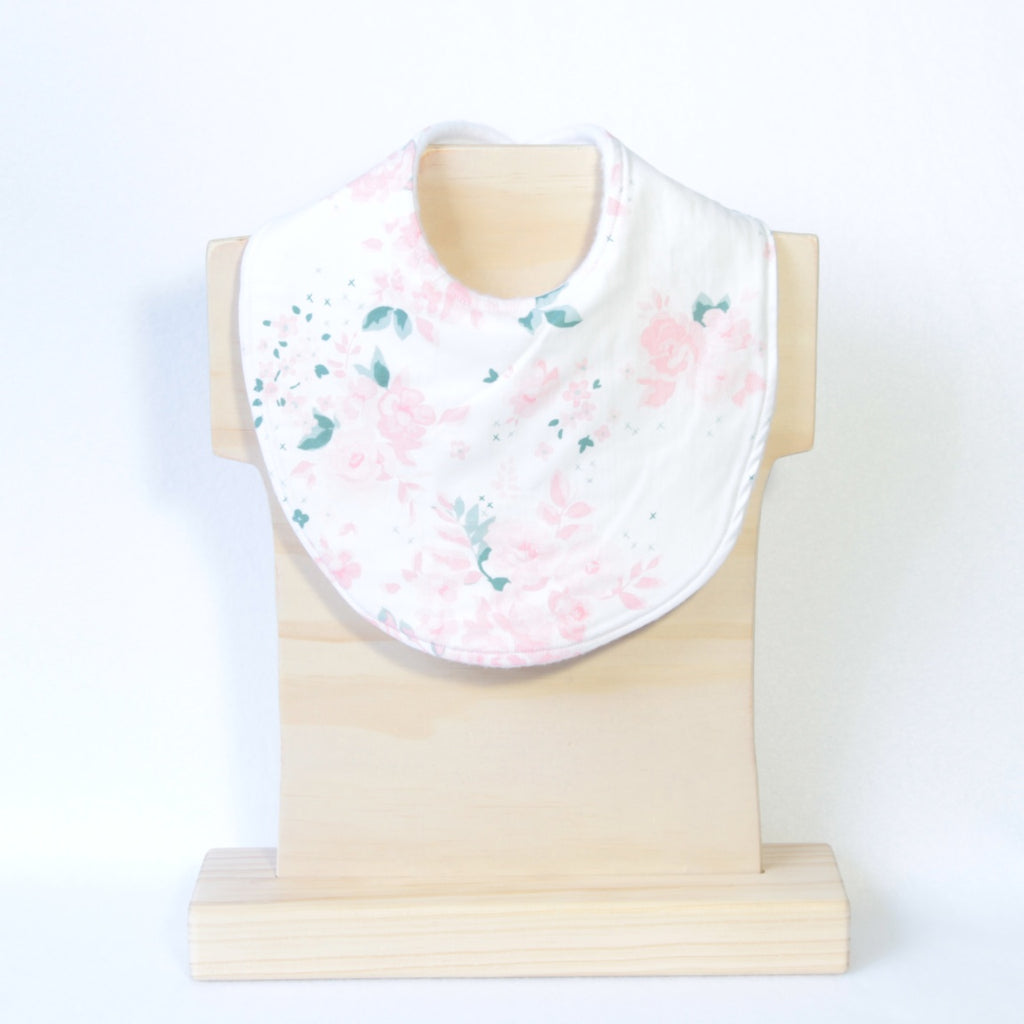 Mucky Duck Crafts white with pink roses dribble bib