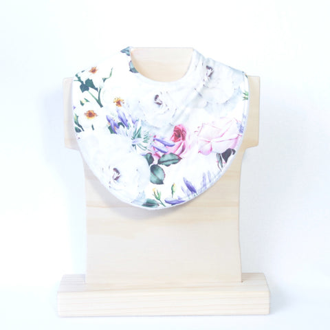 Mucky Duck Crafts white pink roses purple agapanthus african violet baby girl dribble bib