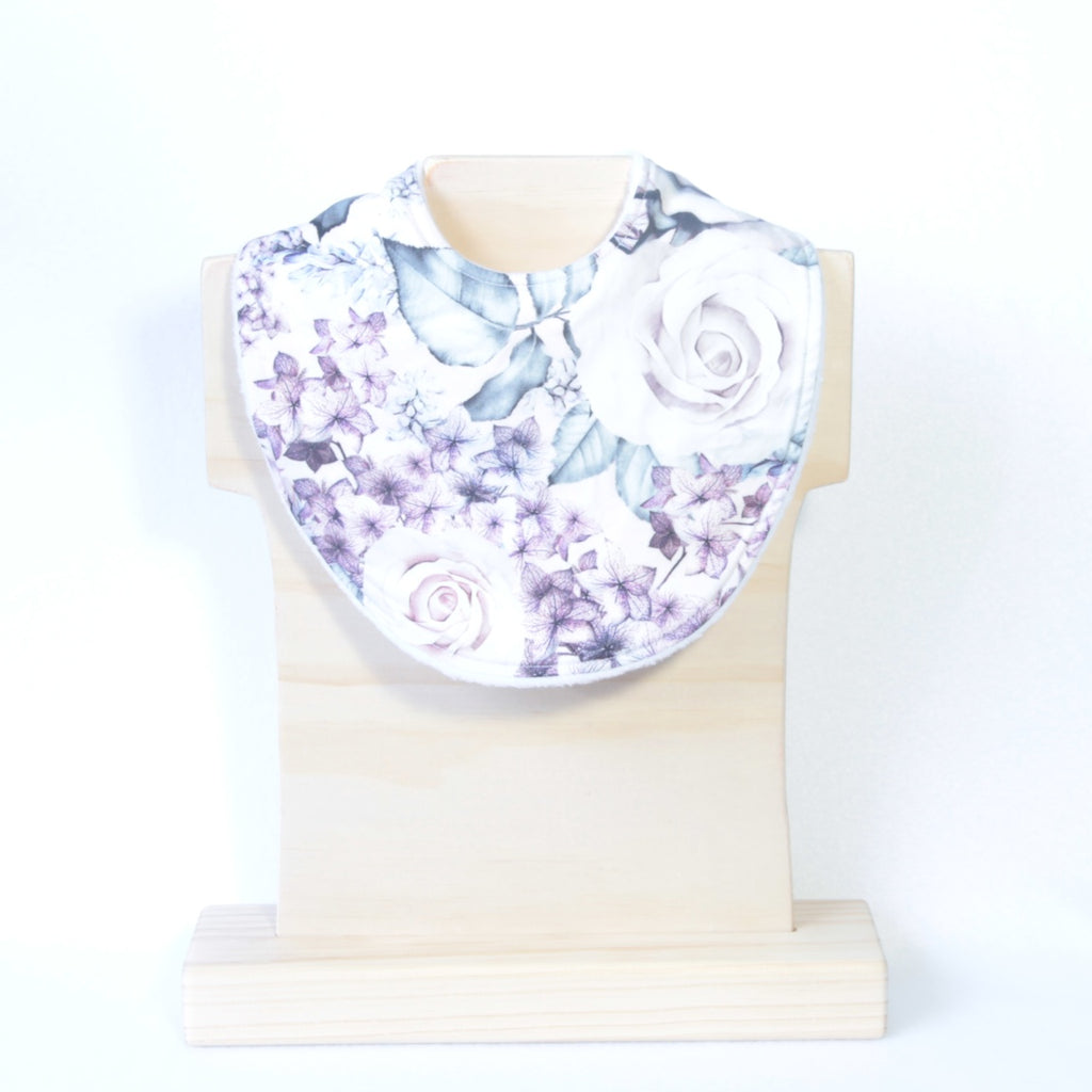 Mucky Duck Crafts Pink and Purple Hydrangea and Rose Flowers Floral Dribble Bib