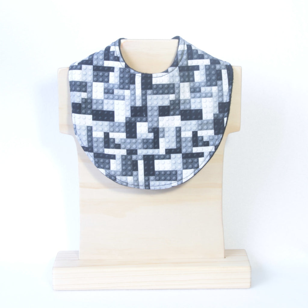 Mucky Duck Crafts monochrome black and white building block unisex baby dribble bib