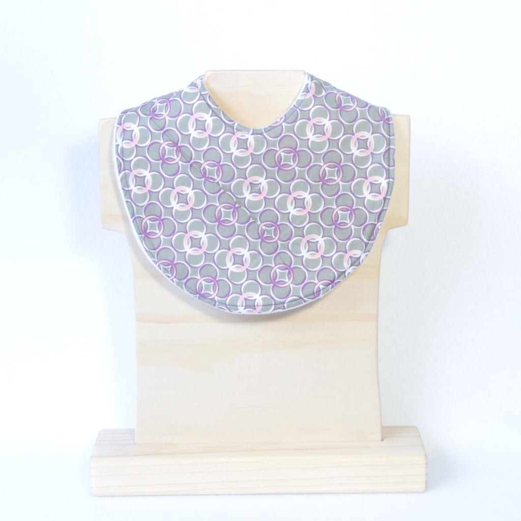 Mucky Duck grey with purple pink white circle dribble bib