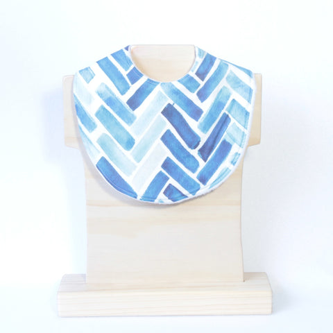 Mucky Duck blue watercolour herringbone dribble bib