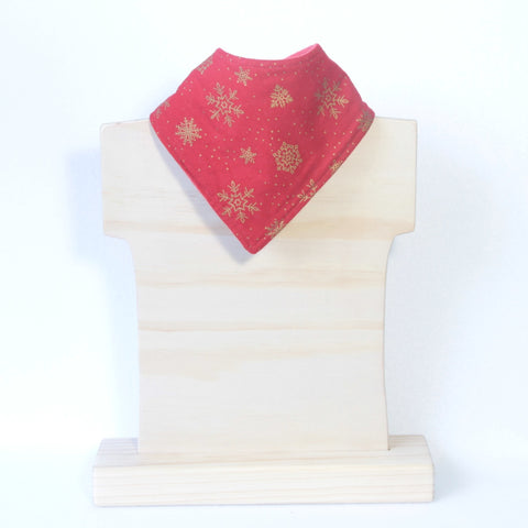 Mucky Duck red with gold snowflakes bandana dribble bib