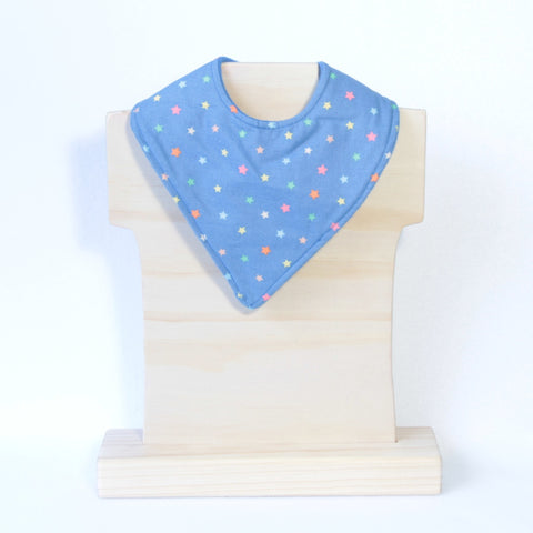Mucky Duck Crafts blue with multicoloured stars bandana dribble bib