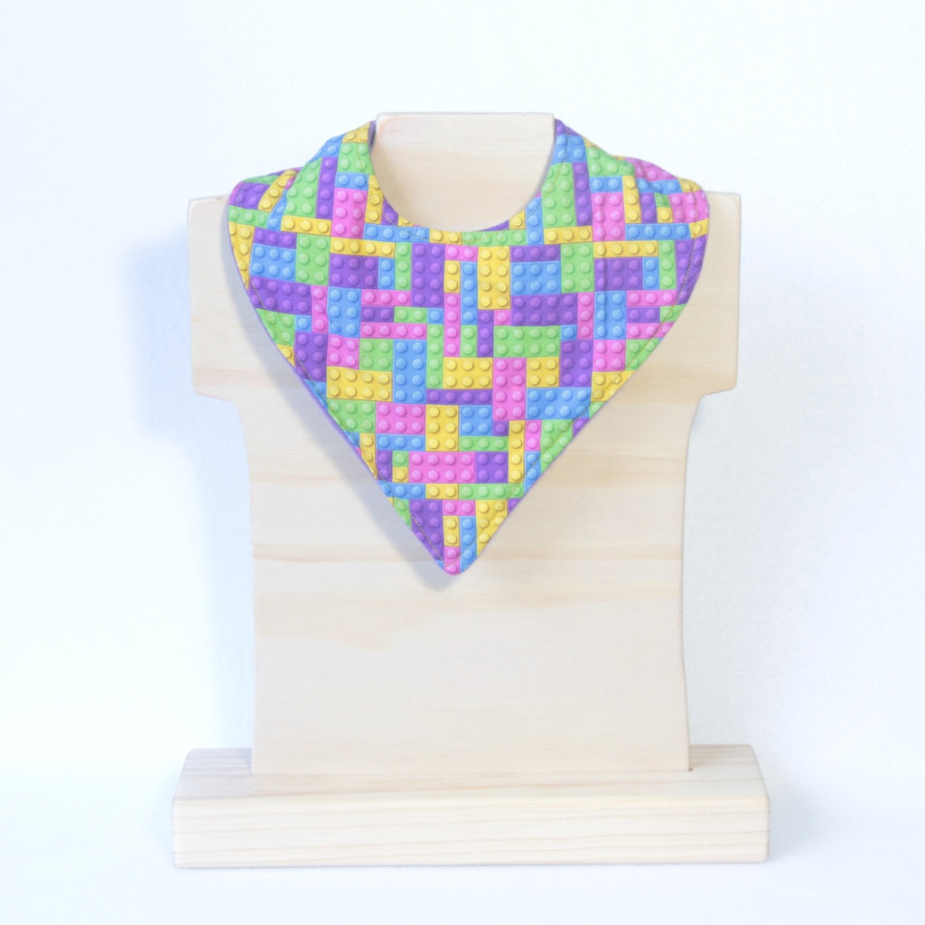 Mucky Duck Crafts Pink Yellow Purple and Blue Building Blocks Bandana Dribble Bib
