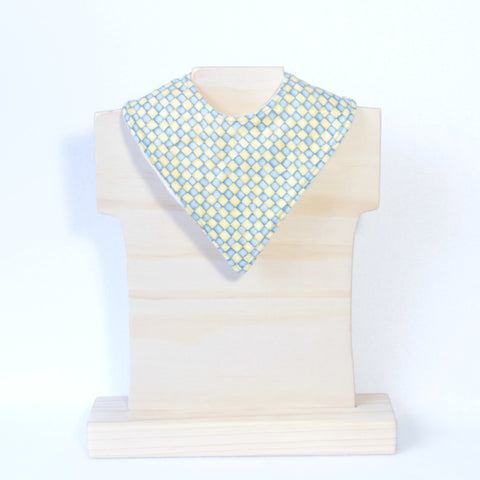 Mucky Duck Crafts blue and yellow squares pattern bandana dribble bib