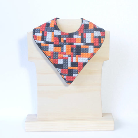 Mucky Duck crafts red orange black and grey building locks bandana dribble bib