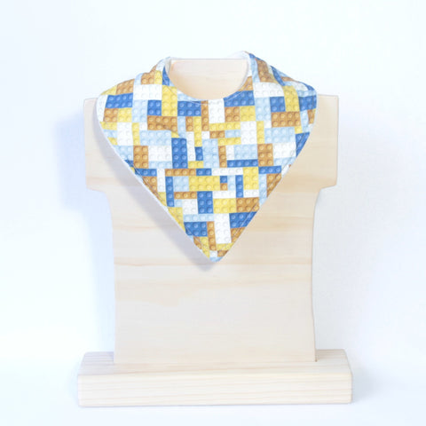 Mucky Duck Crafts blue and mustard building block bandana dribble bib