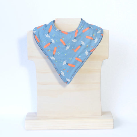 Mucky Duck Crafts Blue with Orange and Grey Hammers bandana dribble bib
