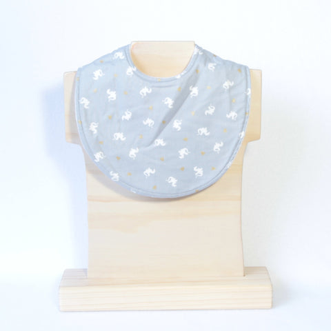 Mucky Duck Crafts Grey with white dragons and gold highlights regular dribble bib
