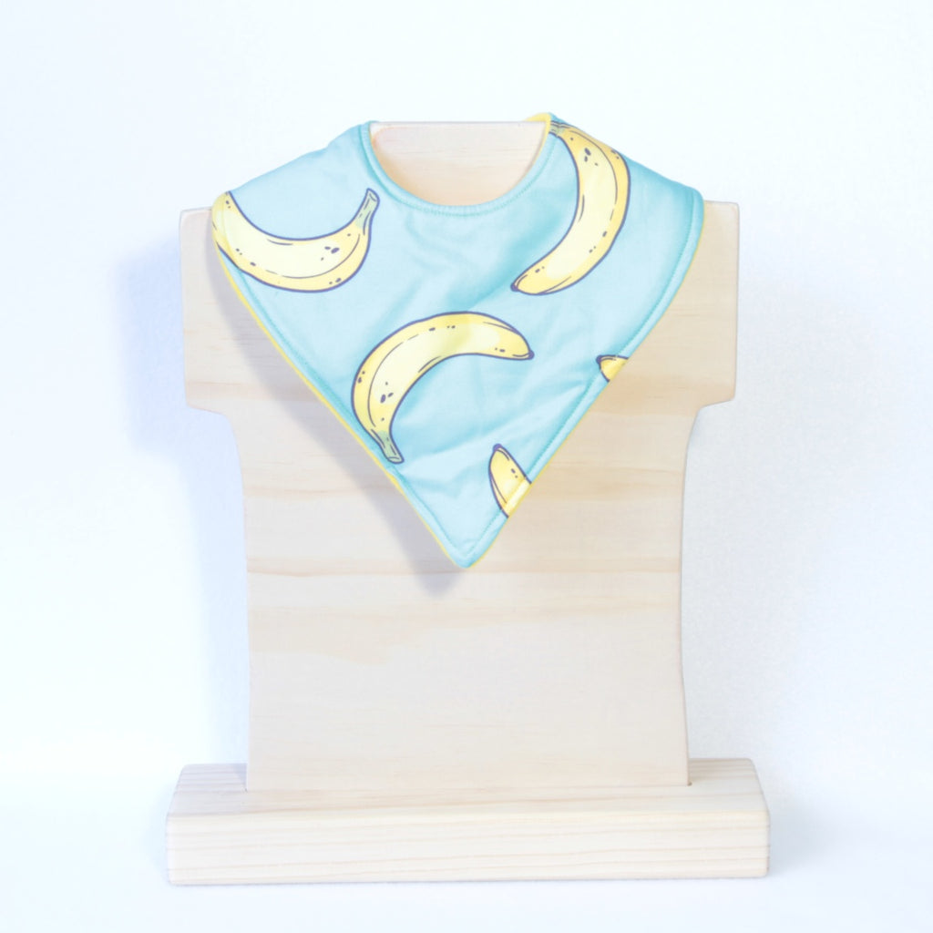 Mucky Duck Crafts bright blue with bright yellow bananas bandana dribble bib