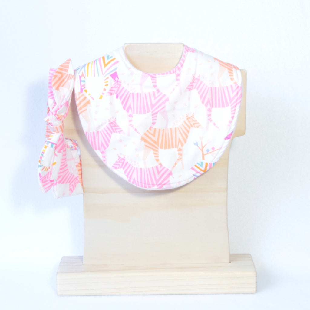 Mucky Duck Crafts Pink and Orange Zebras regular dribble bib and matching topknot headband