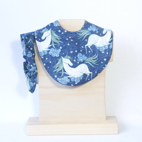 Mucky Duck Crafts navy with white unicorns regular dribble bib with matching top knot headband