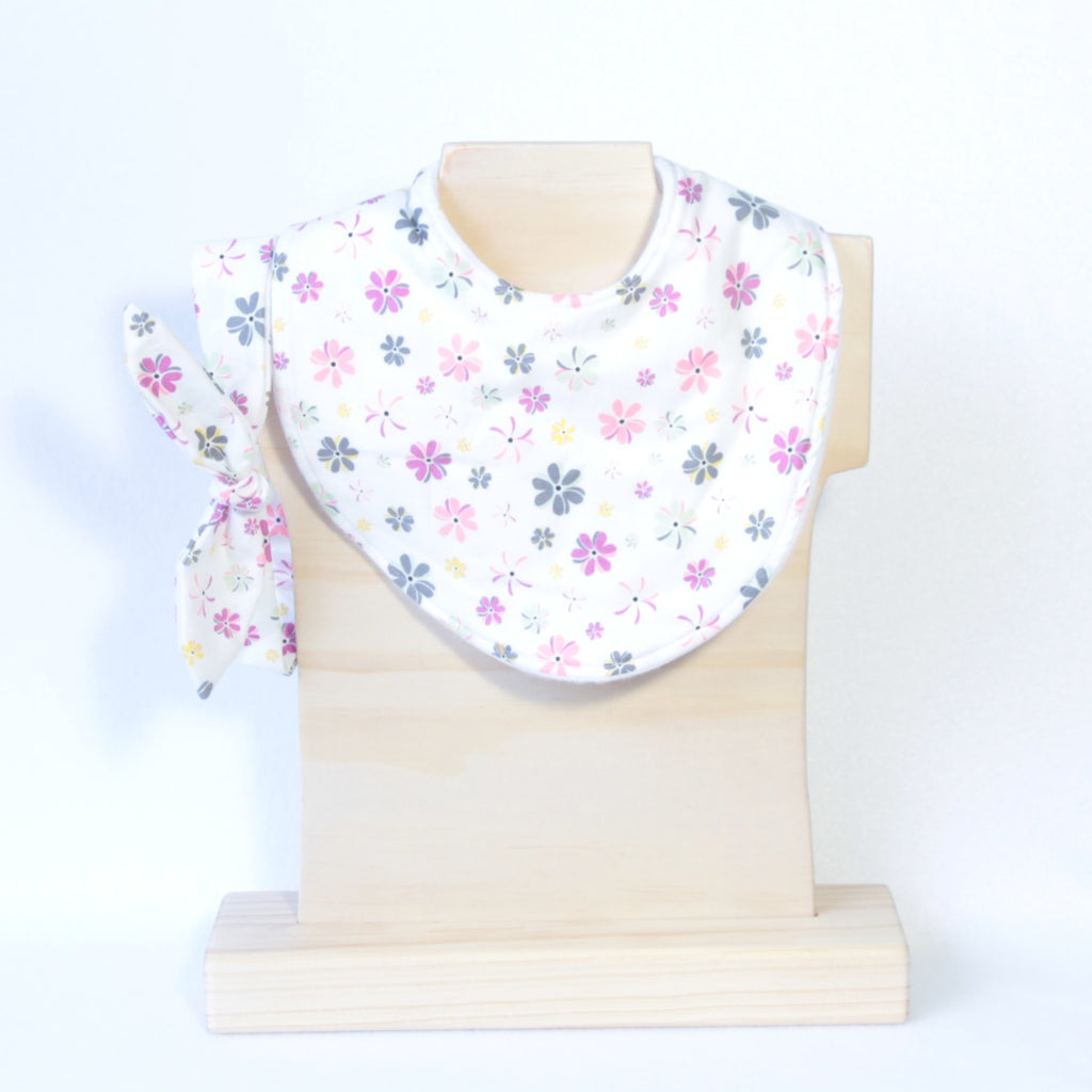 Mucky Duck Crafts White with pink grey mint flowers regular dribble bib with matching top knot headband