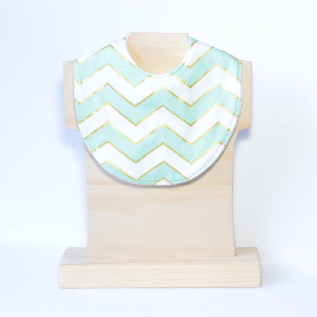 Mucky Duck mint white and gold chevrons regular dribble bib