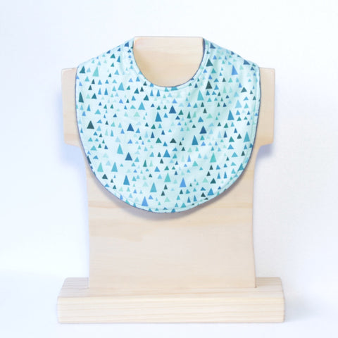 Mucky Duck mint with triangles geometric pattern regular dribble bib