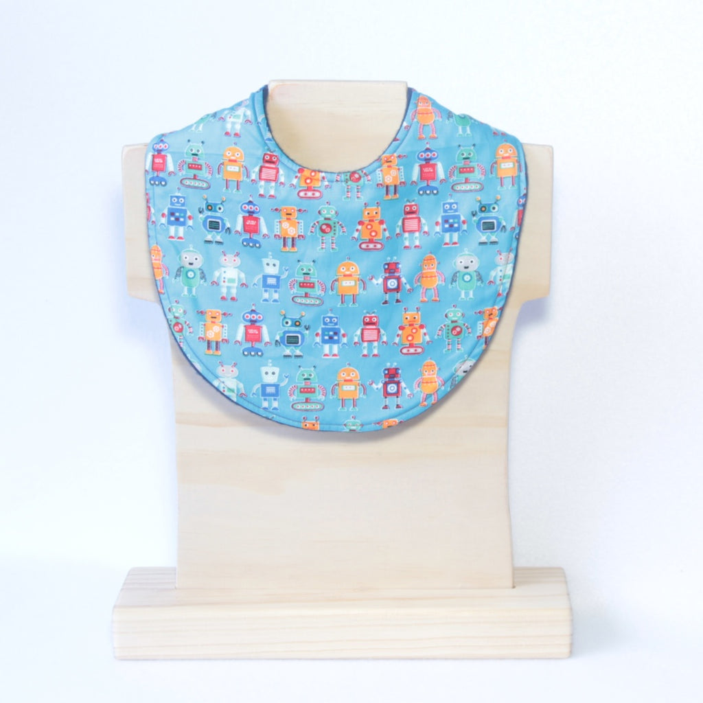 Mucky Duck Crafts Blue with Multicoloured robots regulsr dribble bib
