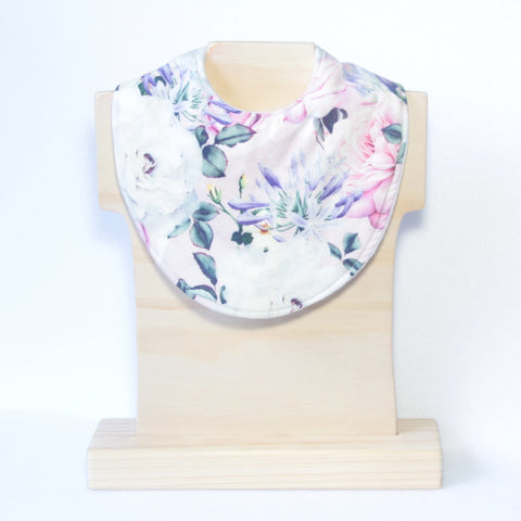 Mucky Duck Crafts pink roses and agapanthus regular dribble bib