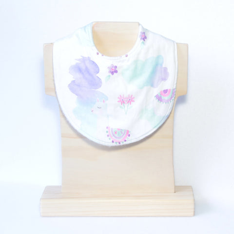 Mucky Duck Purple Mint Pink llamas dribble bib
