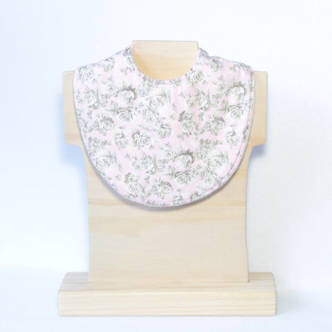 Mucky Duck pink with grey roses dribble bib