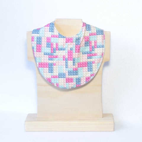 Mucky Duck Crafts Pink and Blue building blocks bandana dribble bib
