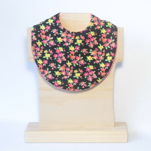mucky Duck Black with pink and yellow flowers dribble bib