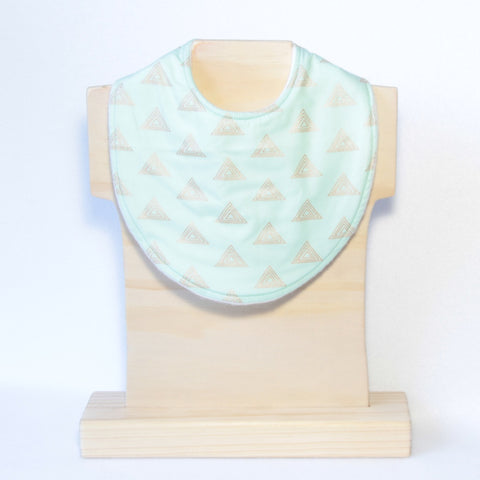 Mucky Duck Crafts mint green with copper triangles regular dribble bib