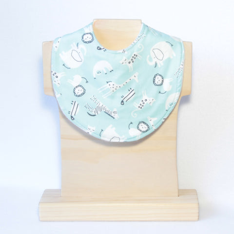 Mucky Duck Crafts mint with white zoo safari animals regular dribble bib