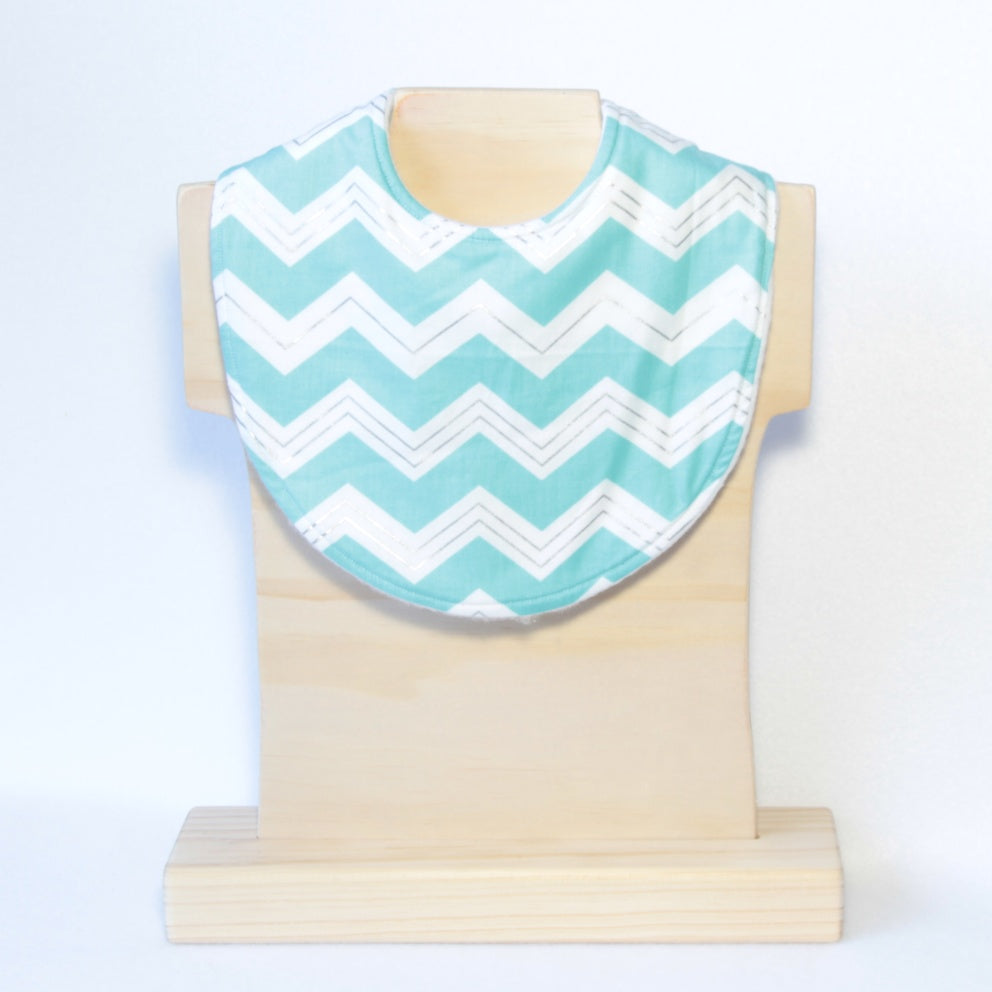 Mucky Duck white with mint and silver chevrons dribble bib