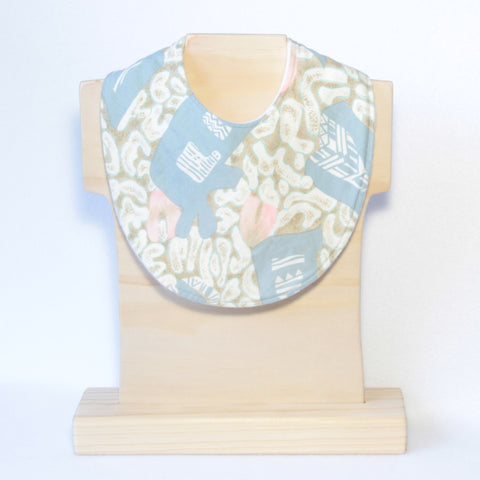 Mucky Duck green blush grey patterned dribble bib