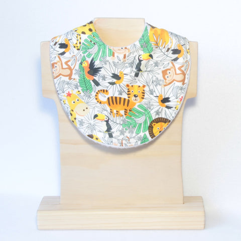 Mucky Duck Crafts Bright zoo animals on a white background regular dribble bib