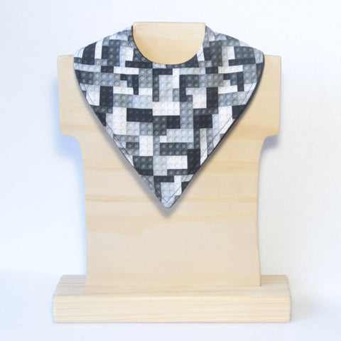 Mucky Duck Crafts monochrome building blocks bandana dribble bib