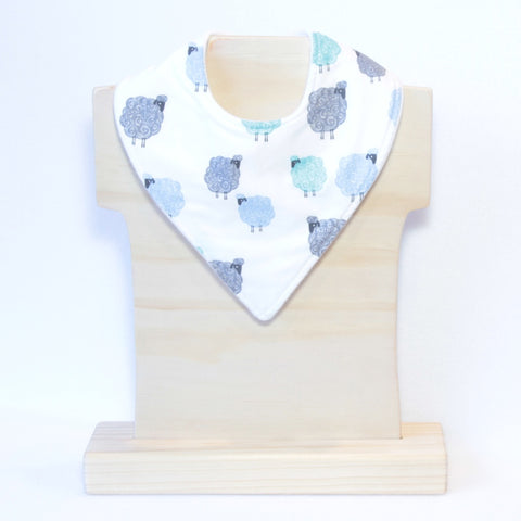 Mucky Duck blue and mint sheep bandana dribble bib