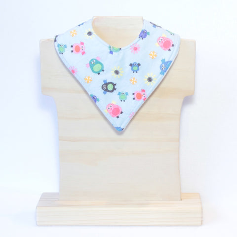 Mucky Duck pale blue with owls  bandana dribble bib