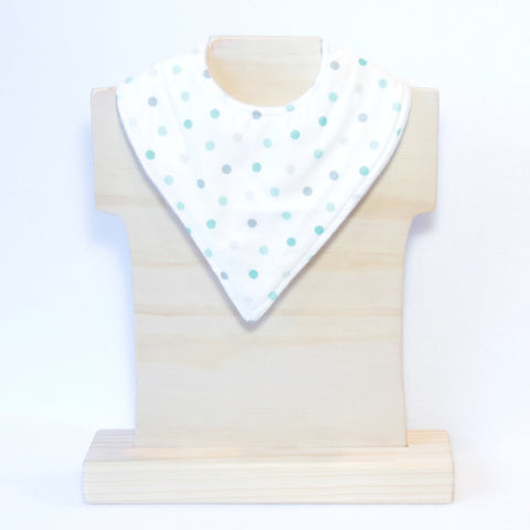 Mucky Duck white with mint & grey polka dots bandana dribble bib