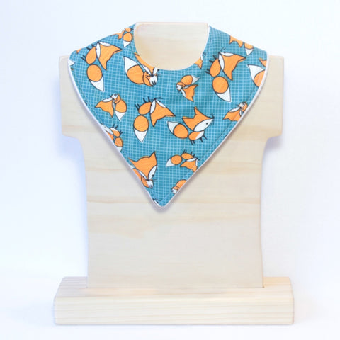 Mucky Duck blue with orange foxes bandana dribble bib