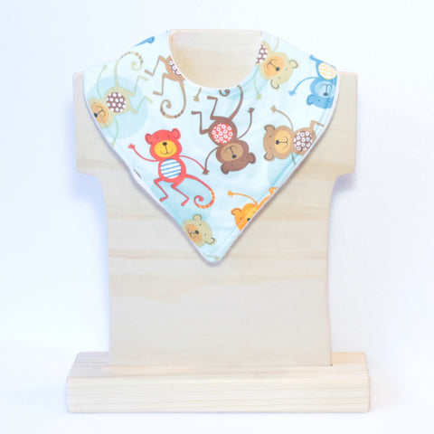 Mucky Duck blue orange red monkeys bandana dribble bib