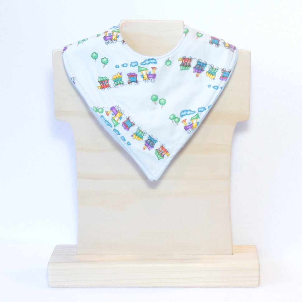 Mucky Duck blue train bandana dribble bib