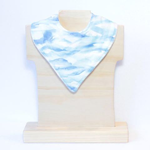 Mucky Duck blue watercolour bandana dribble bib