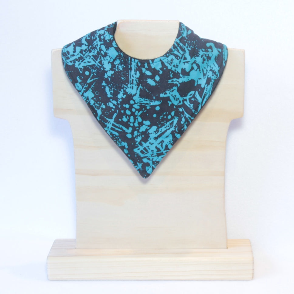 Black and aqua paint splash bandana dribble bib