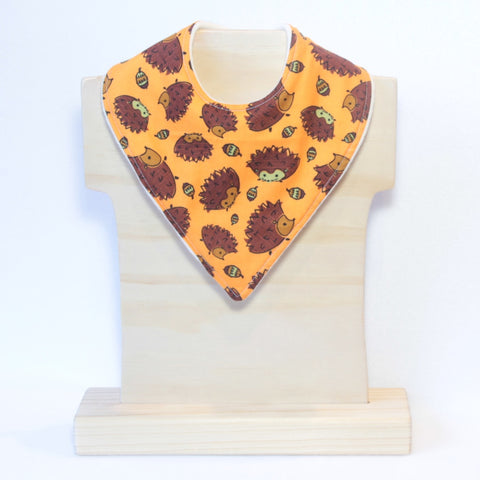 Mucky Duck Orange with hedgehogs  bandana dribble bib