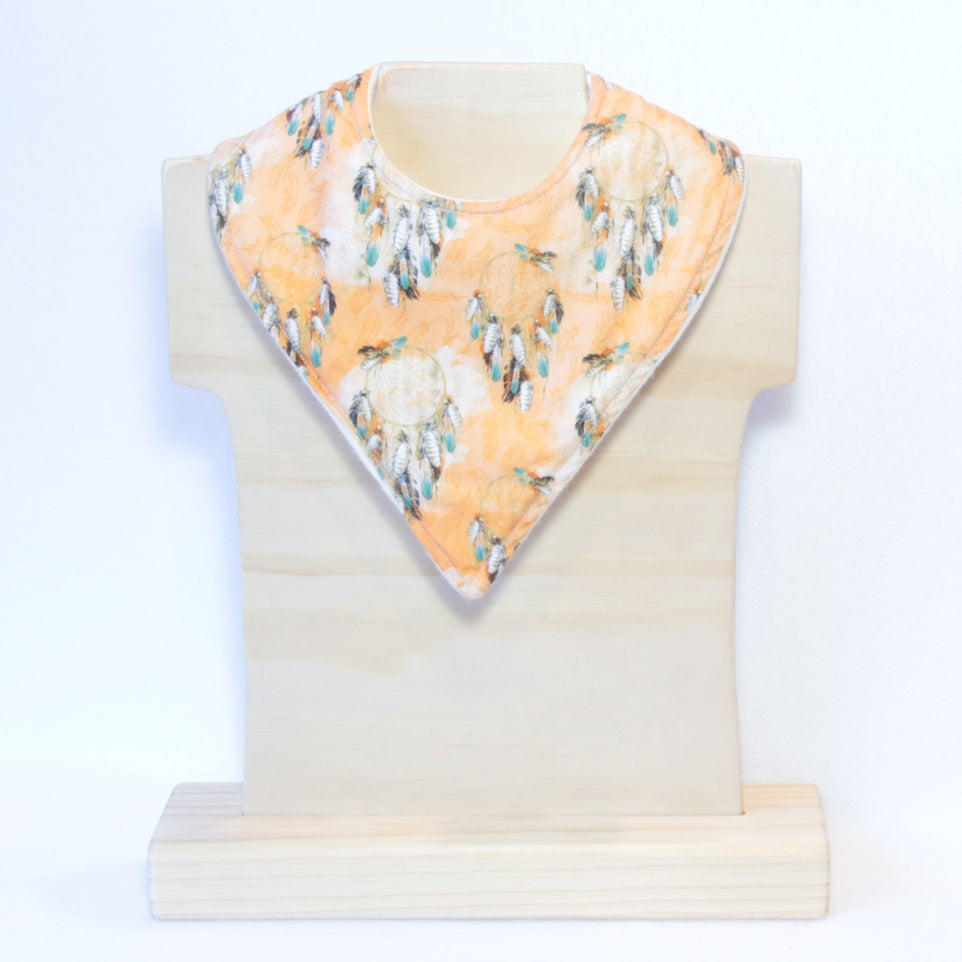 Mucky Duck orange dreamcatcher boho bandana dribble bib