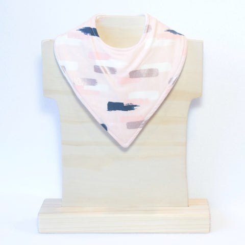 Mucky Duck Crafts Blush with navy pink cream and rose gold dashes bandana dribble bib