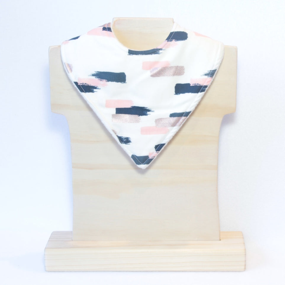 Mucky Duck Crafts Cream with blush navy and rose gold dashes bandana bib